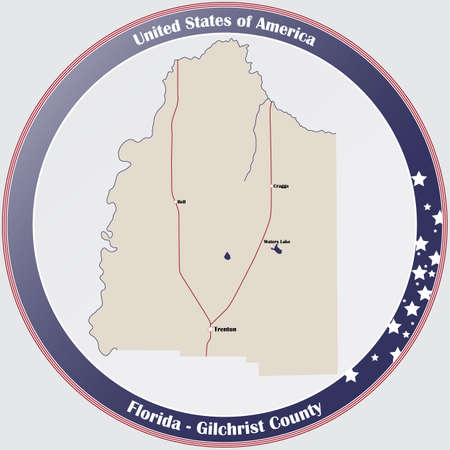 Round button with detailed map of Gilchrist County in Florida, USA.