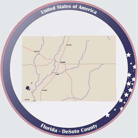Round button with detailed map of DeSoto County in Florida, USA. Ilustração