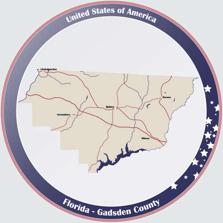 Round button with detailed map of Gadsden County in Florida, USA. Ilustração