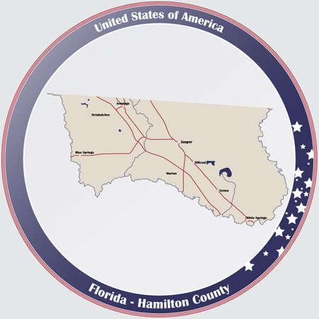 Round button with detailed map of Hamilton County in Florida, USA. Ilustração