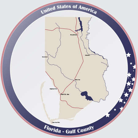 Round button with detailed map of Gulf County in Florida, USA.