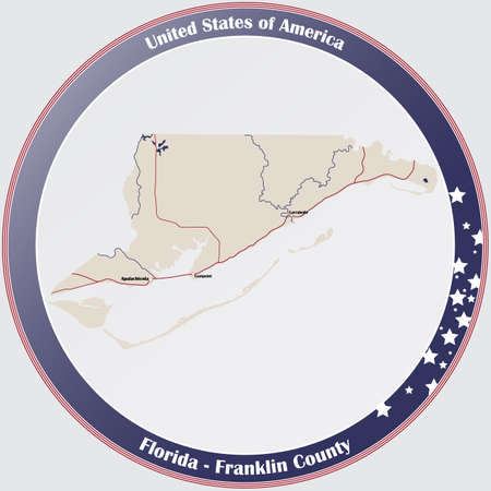 Round button with detailed map of Franklin County in Florida, USA.