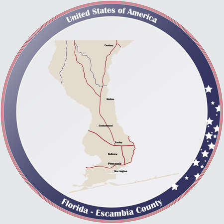Round button with detailed map of Escambia County in Florida, USA.