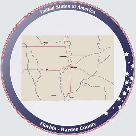 Round button with detailed map of Hardee County in Florida, USA. Ilustração