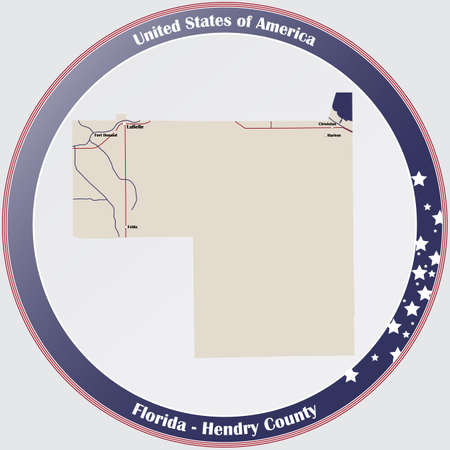 Round button with detailed map of Hendry County in Florida, USA.