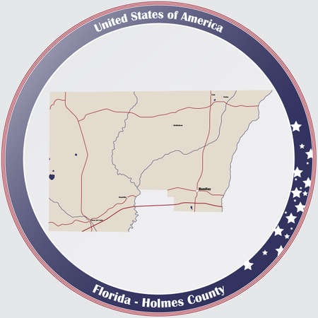 Round button with detailed map of Holmes County in Florida, USA.