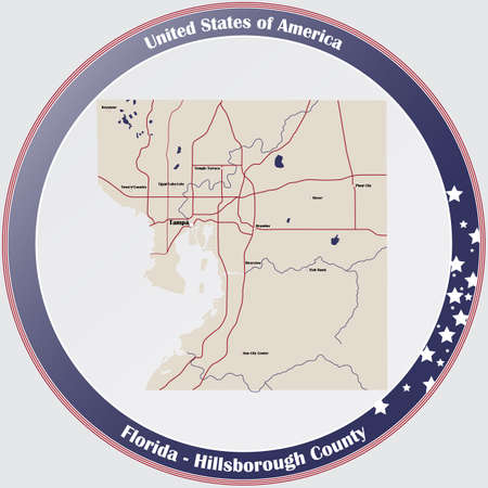 Round button with detailed map of Hillsborough County in Florida, USA.