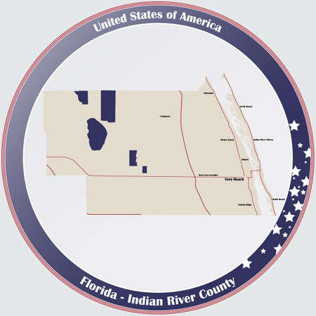 Round button with detailed map of Indian River County in Florida, USA. Ilustração