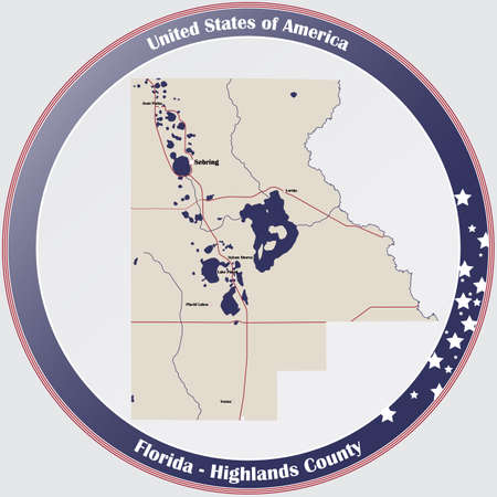 Round button with detailed map of Highlands County in Florida, USA. Ilustração