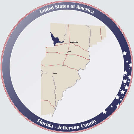 Round button with detailed map of Jefferson County in Florida, USA. Ilustração