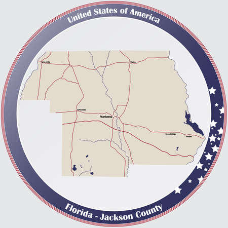 Round button with detailed map of Jackson County in Florida, USA. Ilustração