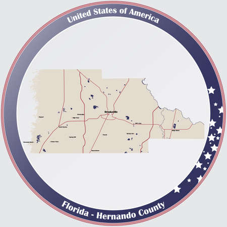 Round button with detailed map of Hernando County in Florida, USA.