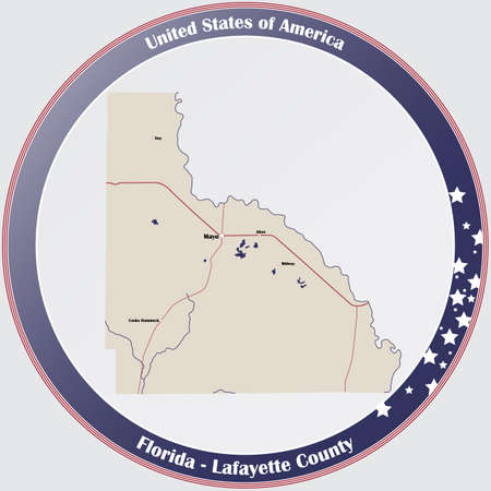 Round button with detailed map of Lafayette County in Florida, USA. Ilustração