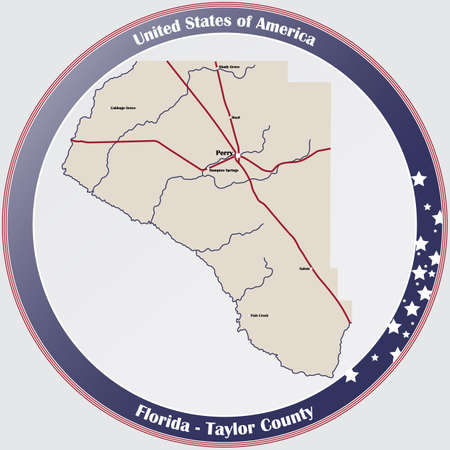 Large and detailed map of Taylor county in Florida, USA.  イラスト・ベクター素材