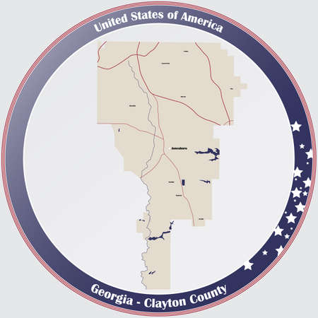 Large and detailed map of Clayton county in Georgia, USA.