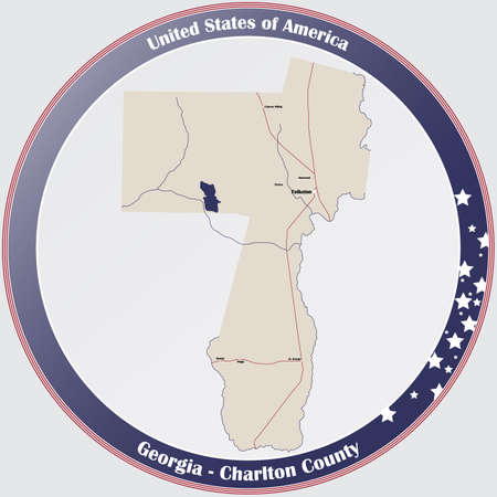 Large and detailed map of Charlton county in Georgia, USA. Ilustração