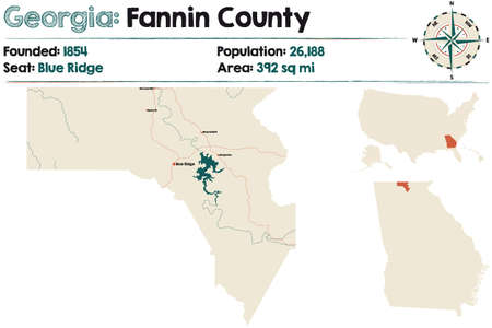 Large and detailed map of Fannin county in Georgia, USA. Stock Illustratie