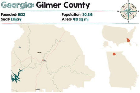 Large and detailed map of Gilmer county in Georgia, USA.