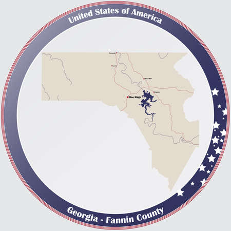 Large and detailed map of Fannin county in Georgia, USA. Ilustração