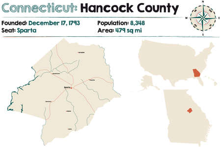 Large and detailed map of Hancock county in Georgia, USA. Banco de Imagens - 160027604