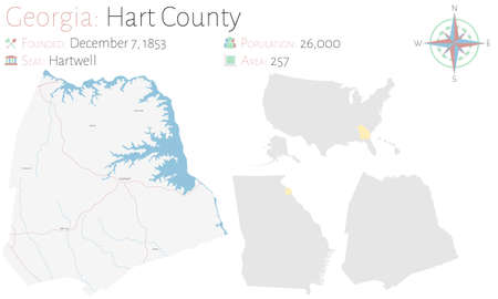 Large and detailed map of Hart county in Georgia, USA.
