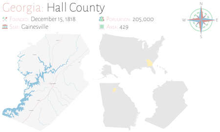 Large and detailed map of Hall county in Georgia, USA.