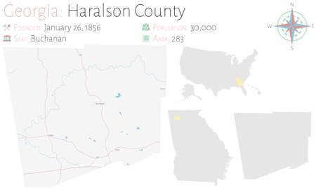 Large and detailed map of Haralson county in Georgia, USA. Ilustração
