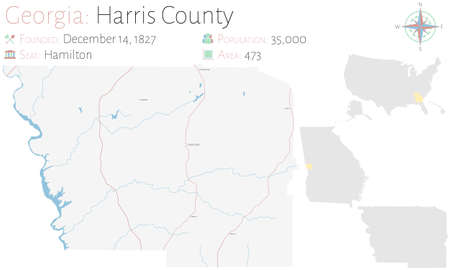 Large and detailed map of Harris county in Georgia, USA. Banco de Imagens - 160377560