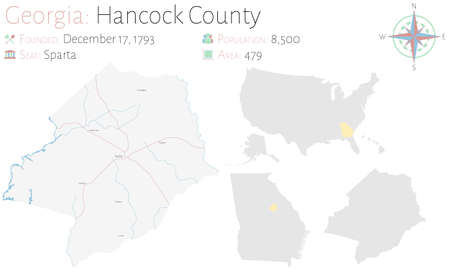 Large and detailed map of Hancock county in Georgia, USA.