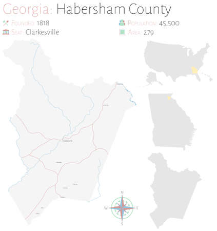 Large and detailed map of Habersham county in Georgia, USA.