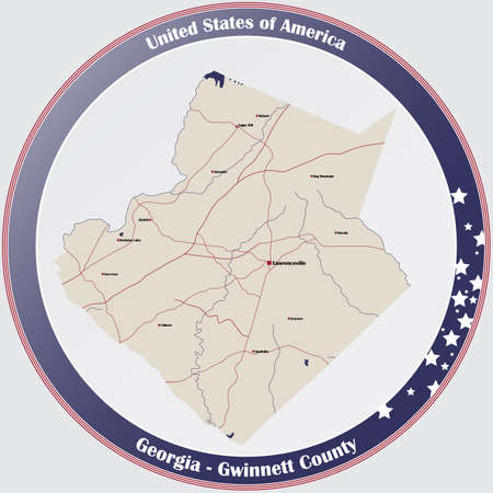 Large and detailed map of Gwinnett county in Georgia, USA. Banco de Imagens - 160331588