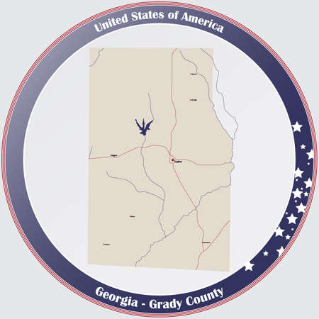 Large and detailed map of Grady county in Georgia, USA. Ilustração