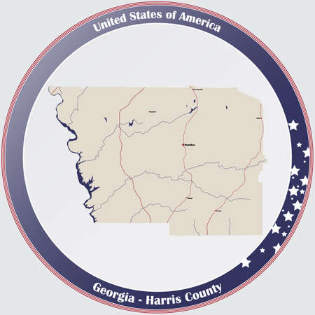 Large and detailed map of Harris county in Georgia, USA.