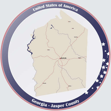 Large and detailed map of Jasper county in Georgia, USA.
