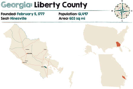 Large and detailed map of Liberty county in Georgia, USA. Ilustração