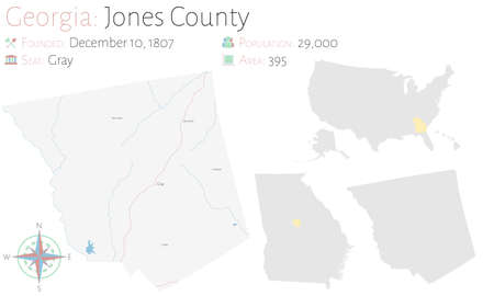 Large and detailed map of Jones county in Georgia, USA.