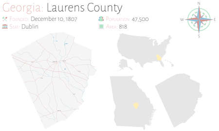 Large and detailed map of Laurens county in Georgia, USA.