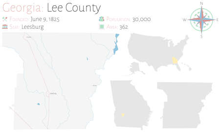 Large and detailed map of Lee county in Georgia, USA. Ilustração