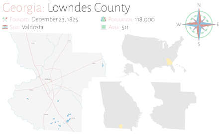 Large and detailed map of Lowndes county in Georgia, USA.