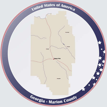 Large and detailed map of Marion county in Georgia, USA.