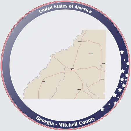 Large and detailed map of Mitchell county in Georgia, USA. Ilustração