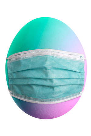 Large picture of an colored easter egg with a mask.