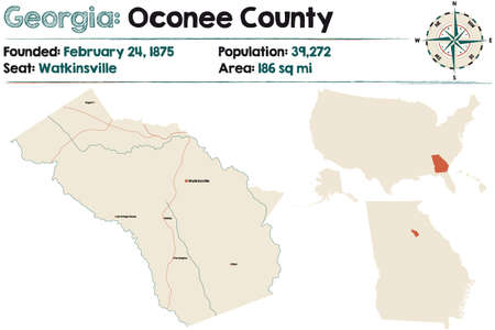 Large and detailed map of Oconee county in Georgia, USA.