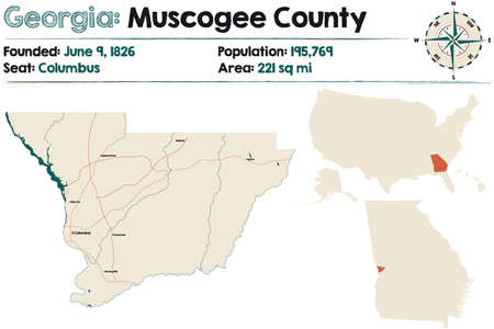 Large and detailed map of Muscogee county in Georgia, USA.