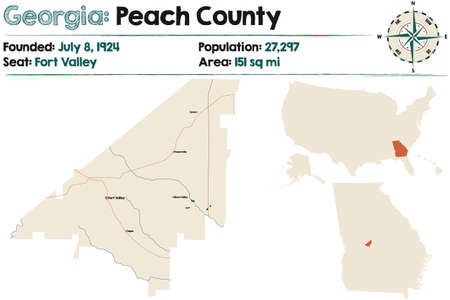 Large and detailed map of Peach county in Georgia, USA.
