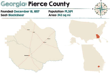 Large and detailed map of Pierce county in Georgia, USA.