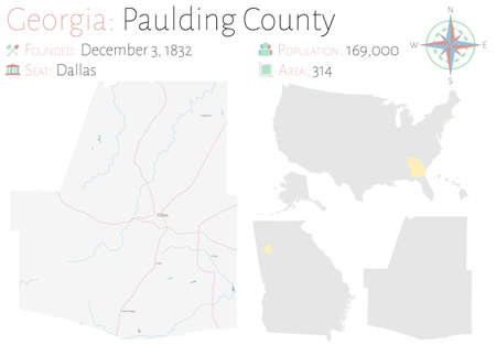 Large and detailed map of Paulding county in Georgia, USA. Ilustração