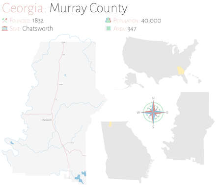 Large and detailed map of Murray county in Georgia, USA.