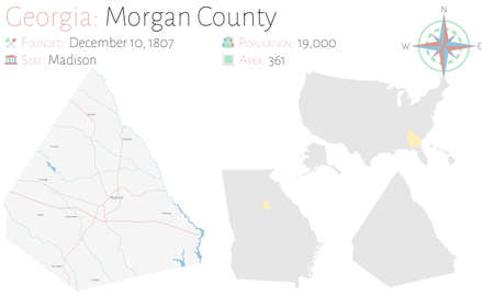 Large and detailed map of Morgan county in Georgia, USA.