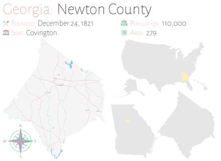 Large and detailed map of Newton county in Georgia, USA.